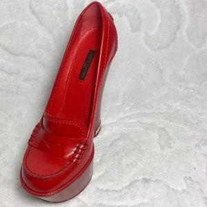 RED LOUIS VUITTON LEATHER LOAFER WEDGES HEELS